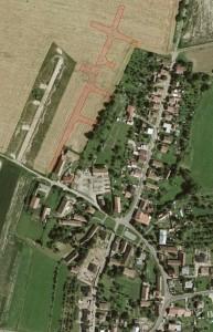 Obr. 1. St. Jesenčany. družicový pohled na místo výzkumu a jeho lokalizace