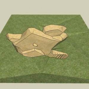 02_Přelouč. 3D zaměření základů objeveného domu z 13. století (3D modelace A. Kössl)